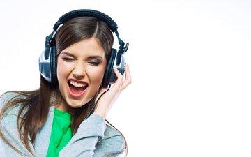 girl, portrait, music, look, headphones, hair, lips, face, emotions