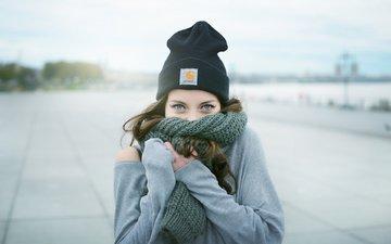 eyes, girl, look, hair, face, hat, scarf