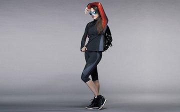 девушка, очки, модель, рюкзак, фигура, спортивная одежда