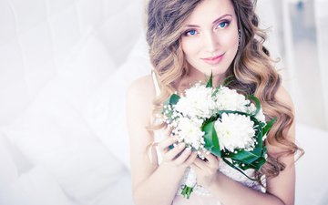 flowers, girl, look, curls, bouquet, hairstyle, the bride