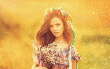 flowers, girl, portrait, field, look, red, chamomile, hair, bouquet, face, ribbon, wreath, photoshoot