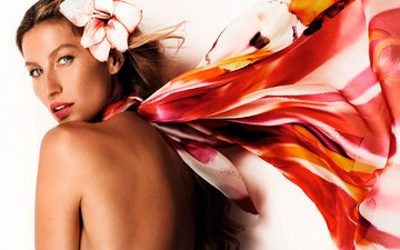 девушка, цветок, взгляд, модель, спина, волосы, лицо, белый фон, жизель бундхен, голое плечо