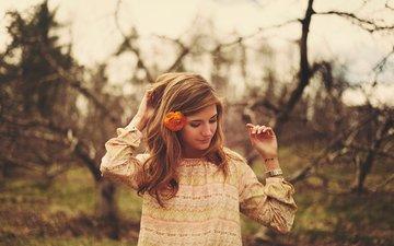 лес, девушка, цветок, взгляд, модель, волосы, лицо, браслет