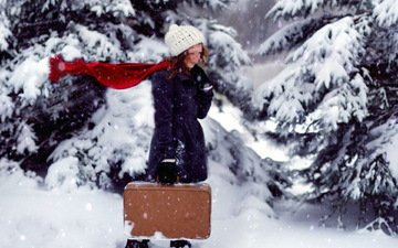 snow, forest, winter, girl, look, hair, face, hat, ate, the wind, blizzard, suitcase, scarf