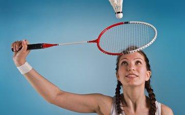 girl, look, model, face, racket, badminton, flounce, birdies