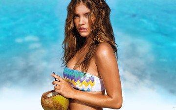 девушка, взгляд, модель, волосы, лицо, бикини, кокос, барбара палвин
