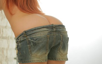 girl, red, model, ass, ariel, denim shorts