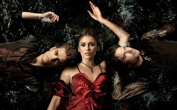 the vampire diaries, nina dobrev, paul wesley, ian somerhalder, damon salvatore, elena gilbert, stefan salvatore