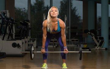 девушка, блондинка, модель, фитнес, спортивная одежда, штанга, тренировки