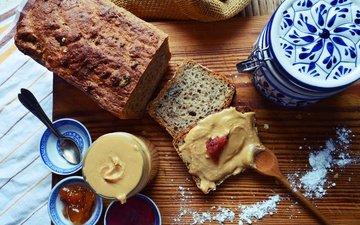 бутерброд, джем, хлеб, завтрак, арахисовая паста