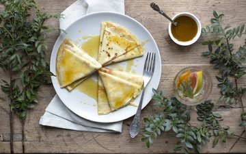 leaves, branches, tea, breakfast, honey, pancakes, wooden surface