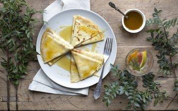 листья, ветки, чай, завтрак, мед, блинчики, блины, деревянная поверхность