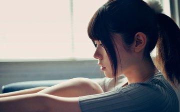 девушка, грусть, взгляд, профиль, волосы, лицо, японии, mayo usami