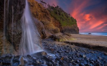 rocks, stones, sunset, waterfall, coast, pacific ocean, oregon, the pacific ocean, hug point state park, hug point falls