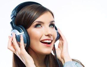 girl, mood, smile, music, look, joy, headphones, hair, face, green-eyed