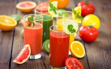 фрукты, лимон, апельсин, напитки, киви, помидоры, грейпфрут, сок