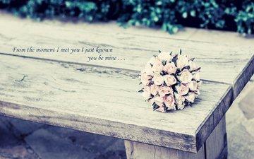 розы, букет, лавка