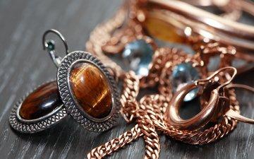 украшения, браслет, золото, сёрьги, цепочки