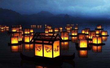 свет, огни, вода, свечи, отражение, фонарики