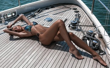 girl, ass, model, yacht, body, bikini, brown hair, lying