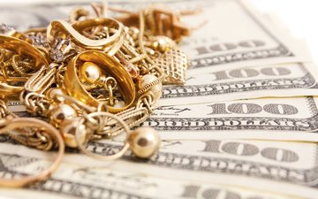 decoration, money, dollars, ring, gold, jewelry, bills, earrings, chain, gold jewelry