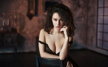 girl, brunette, look, model, neckline, maxim maximov
