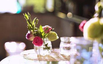 цветы, розы, букет, ваза, салфетка, боке
