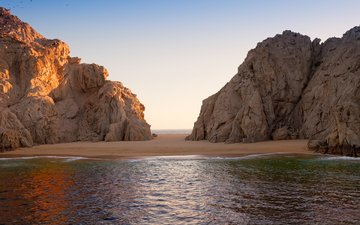 скалы, пейзаж, море, пляж