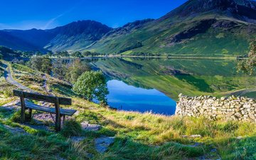 the sky, lake, mountains, nature, reflection, bench