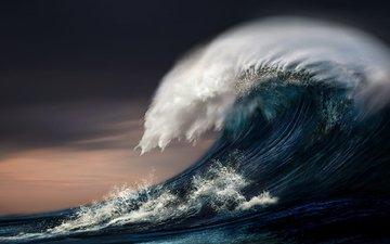 вода, пейзаж, море, волна