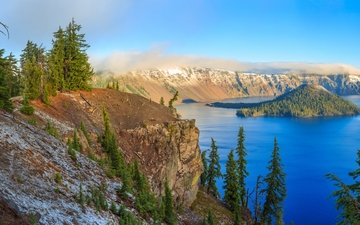 lake, rocks, nature, crater
