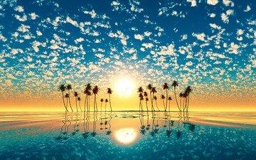 небо, облака, солнце, отражение, пейзаж, море, пальмы, рендеринг, 3д
