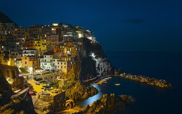 night, lights, the city, italy, manarola, etienne ruff