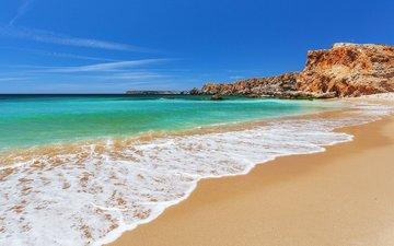 небо, скалы, пейзаж, море, песок, пляж, irina sen