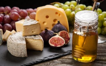 grapes, cheese, honey, figs