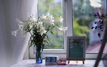 цветы, букет, окно, лилии, натюрморт