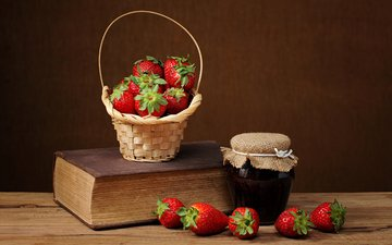 strawberry, basket, berries, book, bank, jam, вареньt