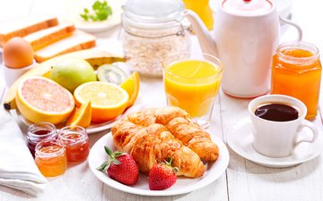 fruit, strawberry, coffee, breakfast, juice, croissants