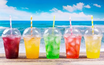 beach, ice, drinks, glasses