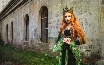 девушка, платье, взгляд, креатив, волосы, лицо, корона, принцесса, евгения литовченко