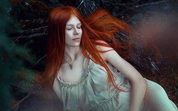 природа, девушка, поза, рыжая, волосы, лицо, закрытые глаза, sarah pusteblume