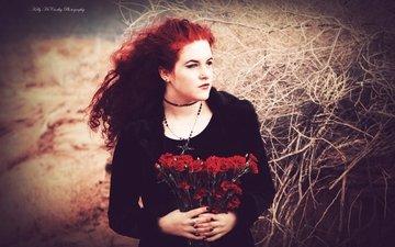 цветы, стиль, пустыня, модель, готика, колье, боке, красные волосы, okelly mccarthy, перекати-поле