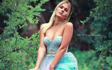 девушка, платье, блондинка, взгляд, модель, лицо, декольте, голые плечи, okelly mccarthy