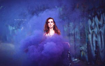 девушка, взгляд, цвет, дым, волосы, лицо, okelly mccarthy