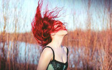 река, девушка, модель, помада, красные губы, красные волосы, okelly mccarthy