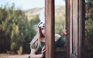 стиль, девушка, маска, поза, блондинка, дверь, модель, кролик, алиса в стране чудес, алиса, сказка, боке, kelly mccarthy, okelly mccarthy