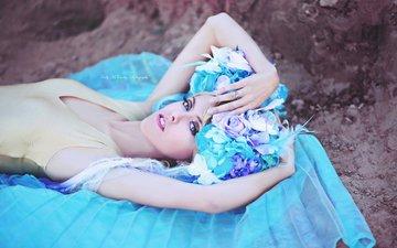 цветы, стиль, девушка, блондинка, портрет, фантазия, модель, голубые глаза, макияж, головной убор, kelly mccarthy, okelly mccarthy