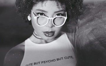 стиль, девушка, портрет, взгляд, очки, чёрно-белое, модель, волосы, губы, лицо, макияж, kelly mccarthy, okelly mccarthy