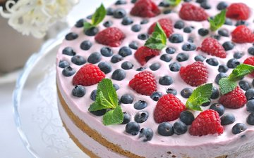 mint, raspberry, berries, blueberries, cake, dessert, pie, cream