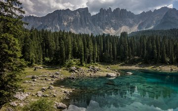 trees, lake, mountains, nature, forest, ate